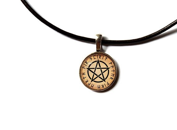 Pagan pendant  Magic jewelry Occult Pentacle by newwoodland