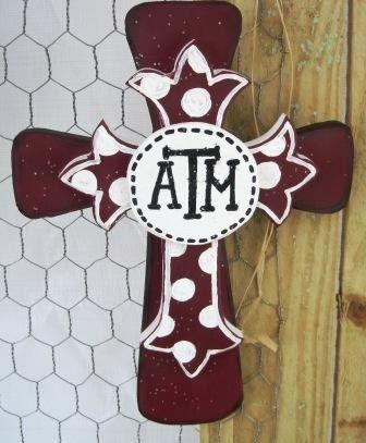 Texas A & M wooden layered cross by henhousecraftsnet on Etsy, $15.00
