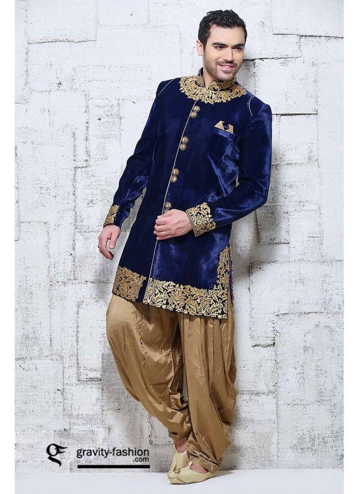 Sherwani Couleur Bleu Tenue de Marié Indien de Concepteur Velour Style Dhoti Sherwani