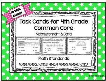 60 Task Cards for 4th Grade Common Core - Measurement & Data  All standards included!  4.MD.1, 4.MD.2, 4.MD.3, 4.MD.4, 4.MD.5, 4.MD.6, 4.MD.7  Student recording sheets & answer sheets included. By: Kim Miller http://www.teacherspayteachers.com/Product/Task-Cards-for-4th-Grade-Common-Core-Measurement-Data-767703