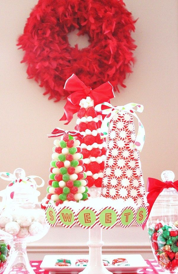 Candy trees … looks pretty easy! From Celebrations at Home. #DIY #crafts #Christmas #kids
