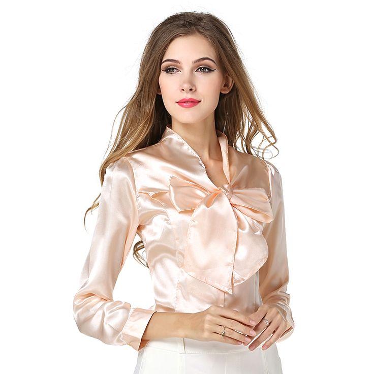 Women Elegant Summer Blouse Long Sleeve Casual Shirt Plus Size OL Solid Blouse Slim Chiffon Silk Blouses Tops