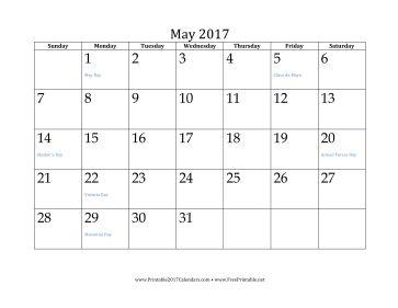 May 2017 Calendar Calendar