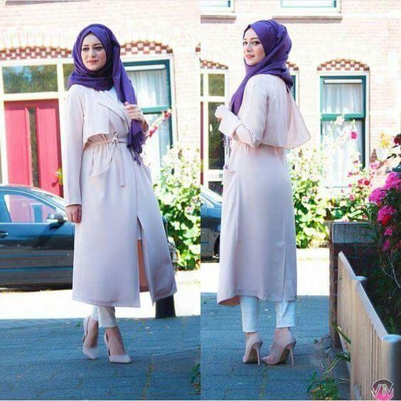 blush pink trench coat hijab chic