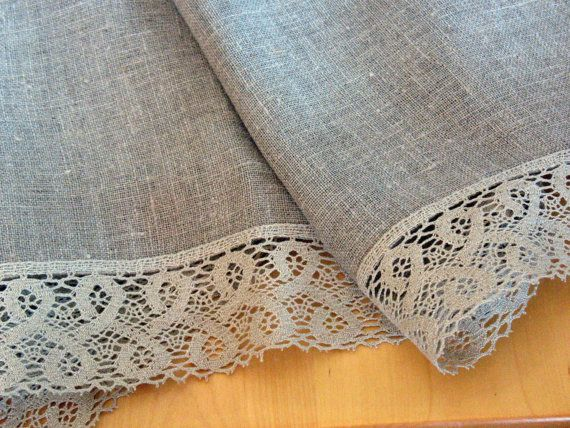 Linen Tablecloth Burlap Square Washed Linen Natural Gray Linen Lace 103 X 60  Size Of Tablecloth 103 X But If Need Other Length, Width   Contact Me.
