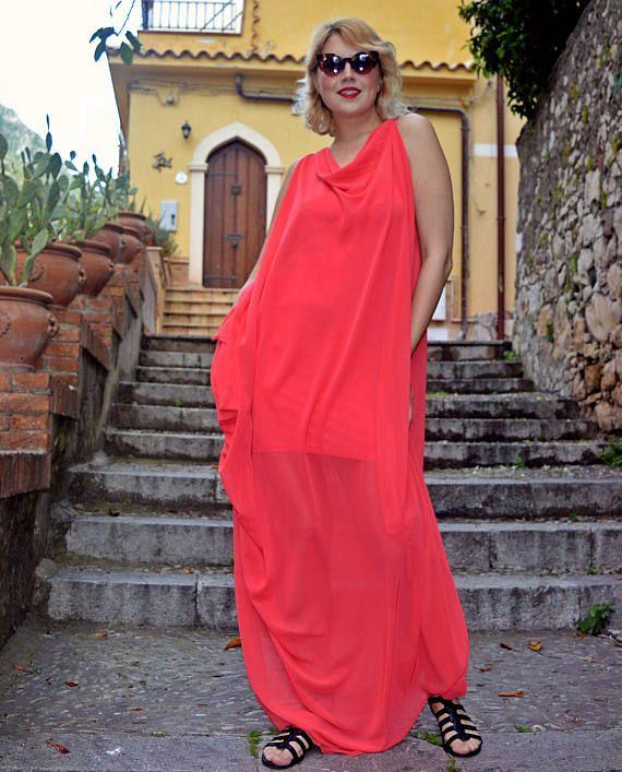 Extravagant Sheer Coral Kaftan, Coral Long Summer Dress, Flared Sheer Coral Kaftan with Underneath Viscose Dress TDK251, La Dolce Vita