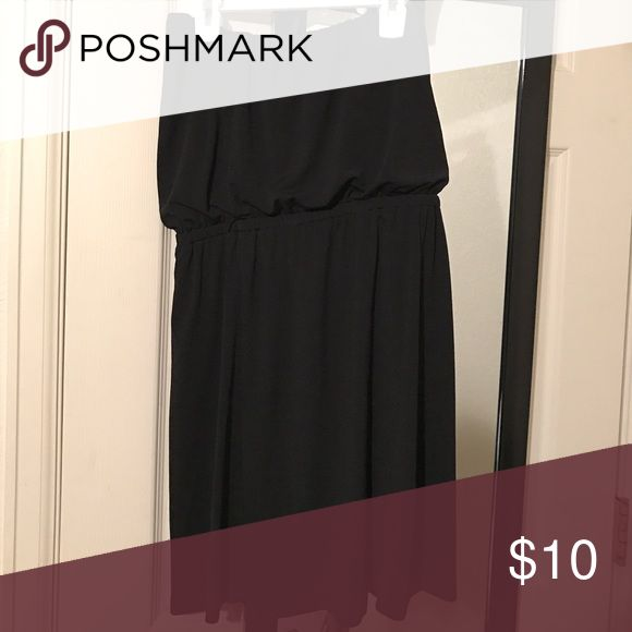 Strapless Black Dress Perfect for a summer date night! Wear with a strapless bra. Stays up very well! Only worn twice. Dresses Strapless