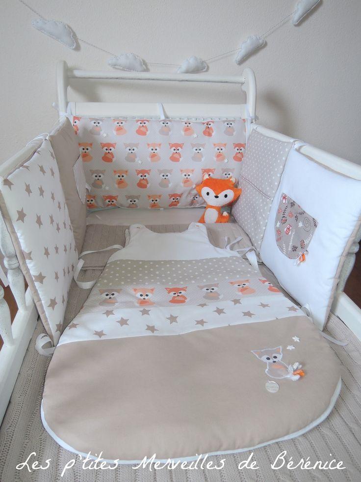 SUR COMMANDE Tour de lit et gigoteuse 0-6 mois taupe clair et blanc, motifs renards et étoiles : Linge de lit enfants par les-p-tites-merveilles-de-berenice