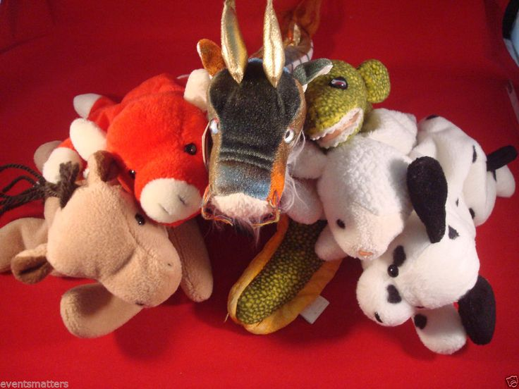 6 Beanie Babies Collector's Lot Dragon, Snort, Derby, Fleece, Dotty, Morrie #692 #Ty