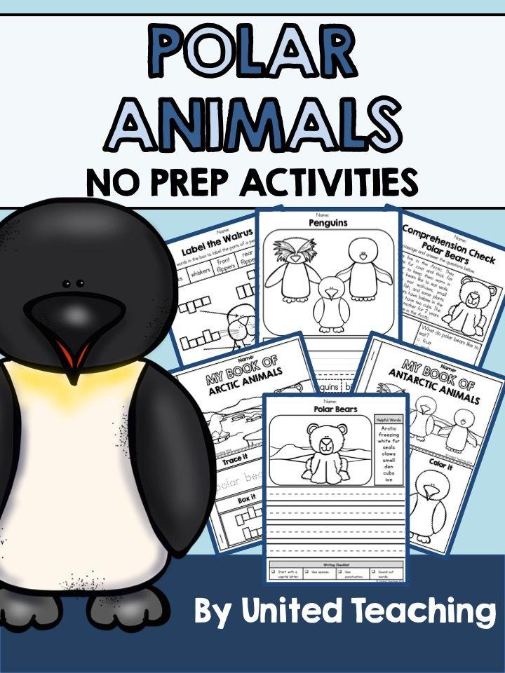 Polar Animals No Prep Activities >> Lots of fun and interactive no prep activities to accompany a unit on Polar Animals.: