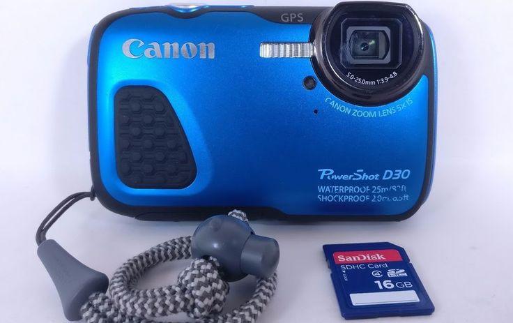 Canon PowerShot D30 12.1MP Digital Camera Blue Waterproof 16GB SD Card Strap