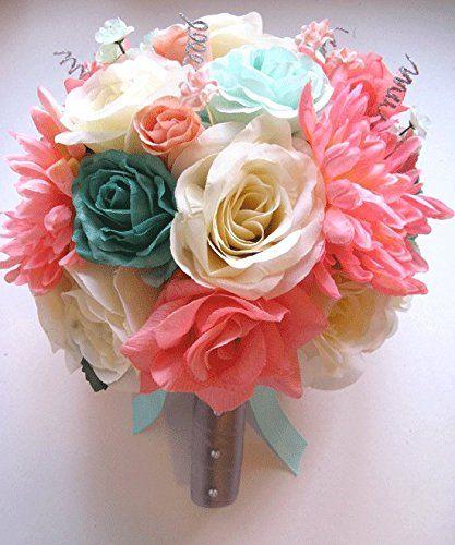 Amazon.com - 17 Pc Wedding Bouquet Bridal Silk Flower Coral Teal Green Mint Gray Peach Silver -