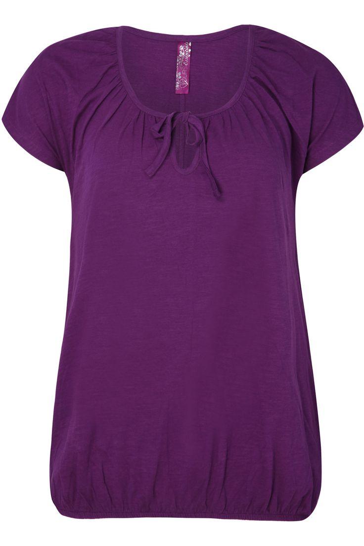 Purple Plain Basic Gypsy T-shirt With Bubble Hem