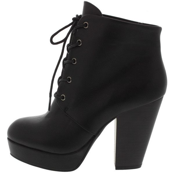 SASA01 BLACK PU LACE UP ANKLE BOOT ($16) ❤ liked on Polyvore featuring shoes, boots, lace up wedge bootie, wedge ankle boots, bootie boots, black wedge bootie and ankle boots