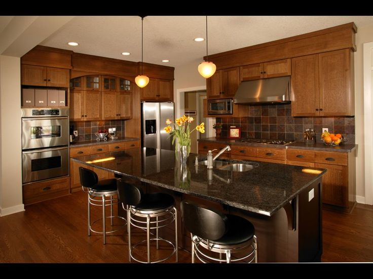 Kitchen Wall Colors With Oak Cabinets Barstools And Center Island