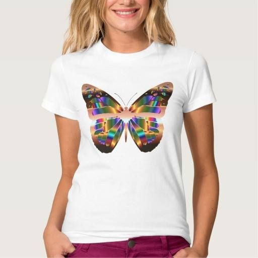 (Pretty Rose Gold Colorful Butterfly Cute Girly Tee Shirt) #Butterflies#Butterfly#Cute#Designer#Fashion#Girly#MasonIngrassia#Modern#Pretty#Rosegold is available on Funny T-shirts Clothing Store   http://ift.tt/2aDQ7Ck