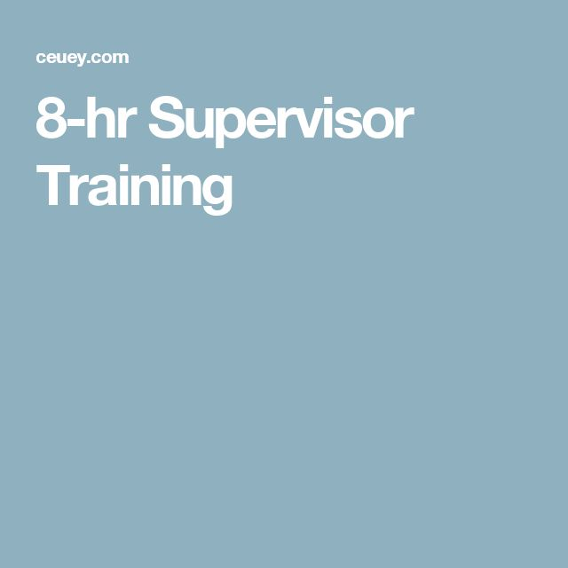 8-hr Supervisor Training