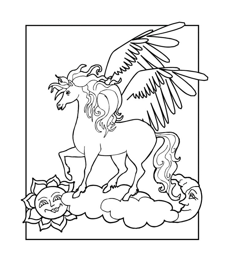 91 best Pegasus to Color images on Pinterest | Pegasus, Unicorns and ...