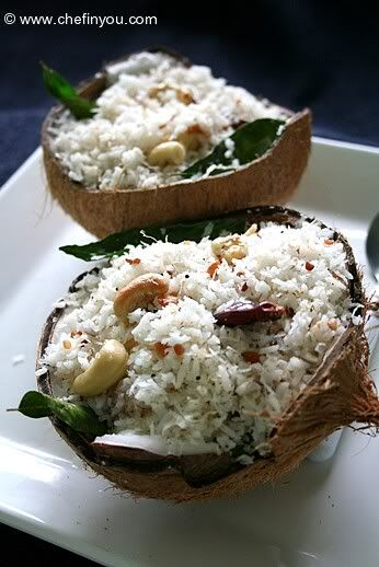 South Indian Coconut Rice with some great tips on grating fresh coconut!  | Sitara India is a North and South Indian Cuisine Restaurant located in Layton, UT! We always provide only the highest quality and freshest products, made from the best ingredients! Visit our website www.sitaraindia.com or call (801) 217-3679 for more information!