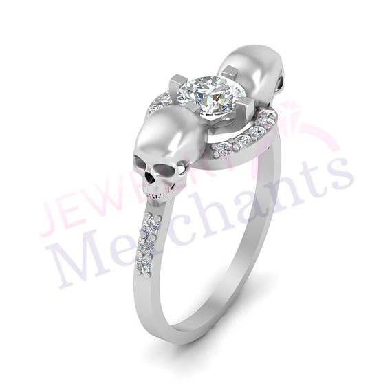 Skull Engagement Ring 1 60 Ct Lab Made White Sapphire Round Skull Engagement Ring Skull Wedding Ring Engagement Ring White Gold