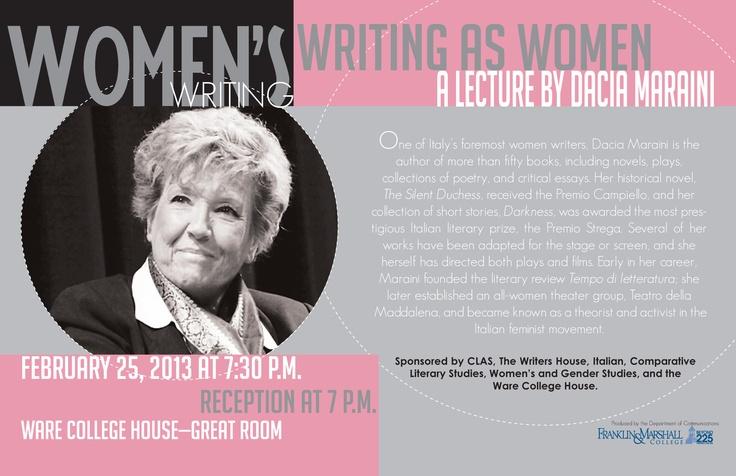 Women's Writing, Writing as Women with Dacia Maraini (Feb. 25, 2013)
