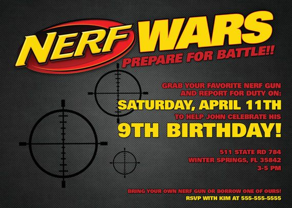 nerf wars invitation 5 x 7 digital download pdf nerf wars party pinterest nerf war and. Black Bedroom Furniture Sets. Home Design Ideas