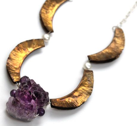Necklace Sterling Silver, Brass, Amethyst, pearl, adjustable up to 26.5 inches long. de TheArtisansGalleryEC en Etsy