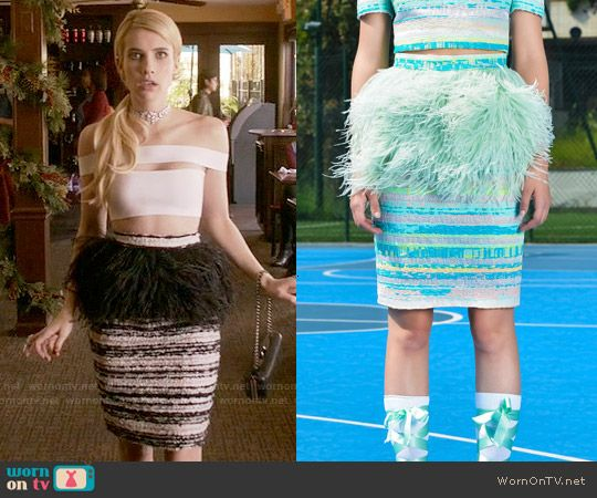 Chanel's black tweed and feather skirt on Scream Queens.  Outfit Details: http://wornontv.net/54793/ #ScreamQueens (exact color not online)