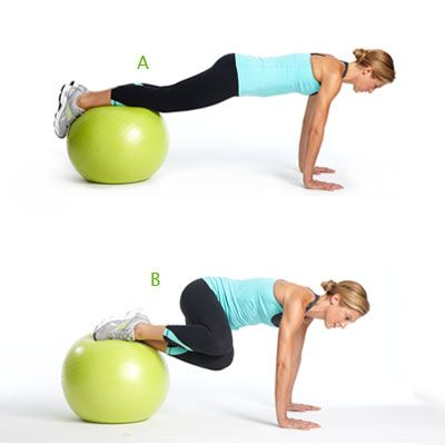 Use an exercise ball to really tone your abs! Try this Plank Tuck with a Twist move. #fitness | Health.com