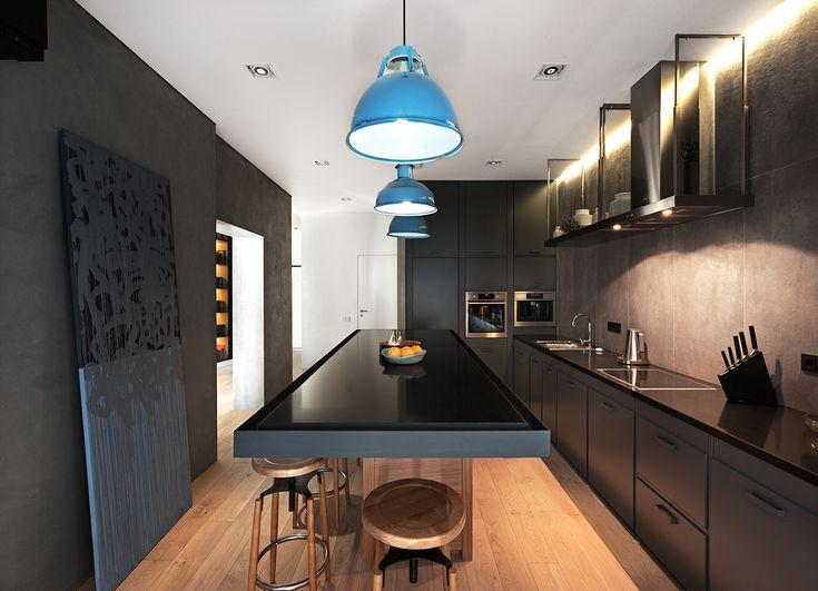 Большой кухонный стол из искусственного камня визуально расширяет пространство…