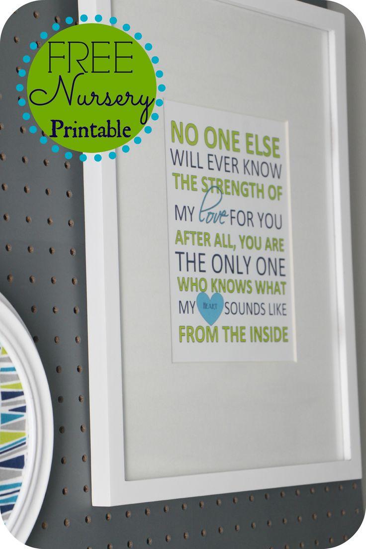 FREE Nursery printable | Nursery Word Art | Nursery Quotes | navy green & gray
