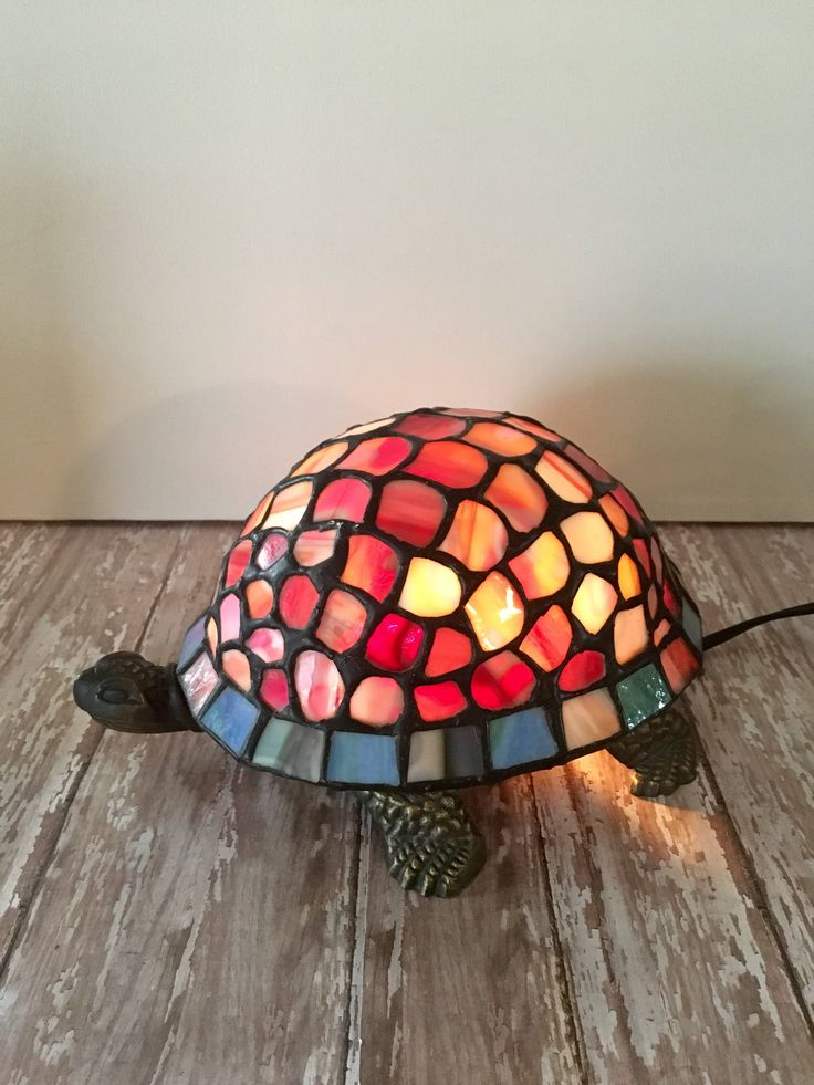 Vintage Turtle Lamp, Stained Glass Turtle Lamp, Turtle Decor, Reptile Lamp, Stained Glass Lamp, Terrapin Lamp, Tortoise Lamp by passedloves on Etsy