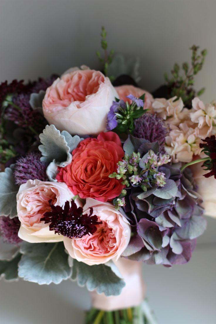 antiqued purple hydrangea, stock, lisianthus, garden roses, flowering oregano