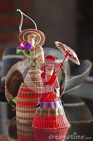 Figure of a lady hand-crafted using horse hair, dyed by the weavers of the town of Rari, Chile