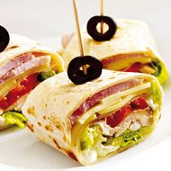 Club Sandwich Wrap, made from Mission Deli Wraps, chicken, gouda, ham and salad. Perfect for a lunch box, packed lunch for school or work