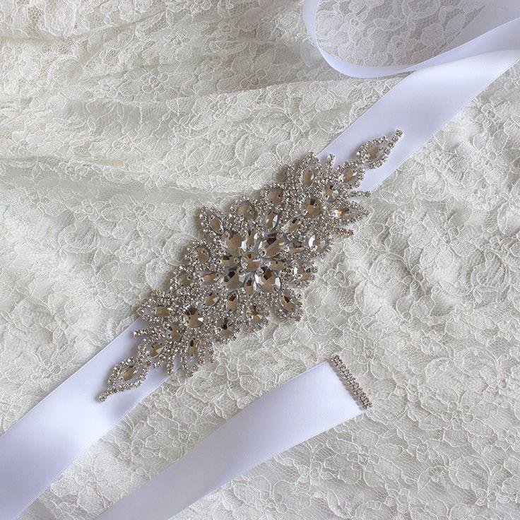 New kryształ bridal sash 2017 rhinestone wedding party druhna panny młodej pas Sukni Skrzydła Pure White Black Red Ivory Blush W zdjęcie