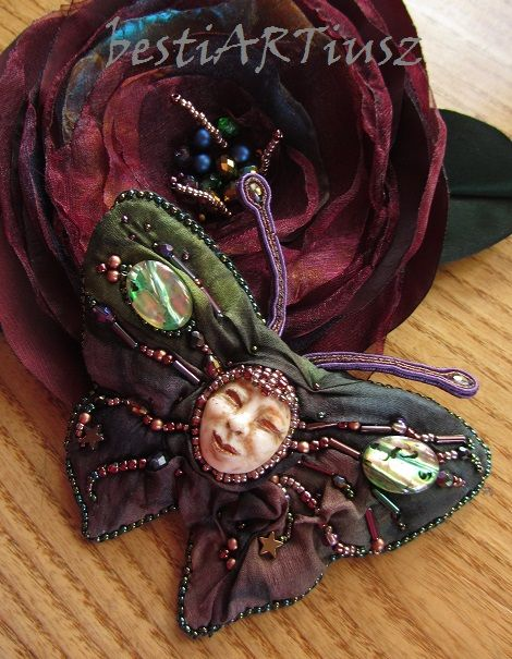 bestiARTiusz: Bellatrix (silk & soutache brooch with mask OOAK/ ...