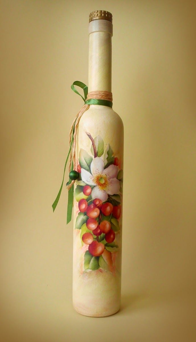 Decoration of bottles and decoupage with tights with their own hands - master class