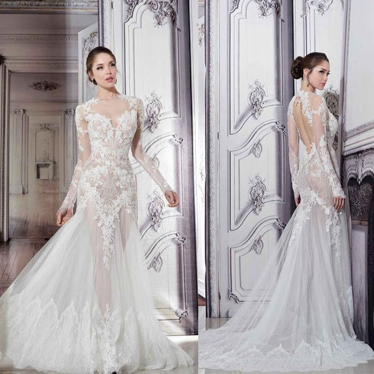 Pnina tornai sheer wedding dresses 2015 illusion crew neck for Pnina tornai wedding dresses prices