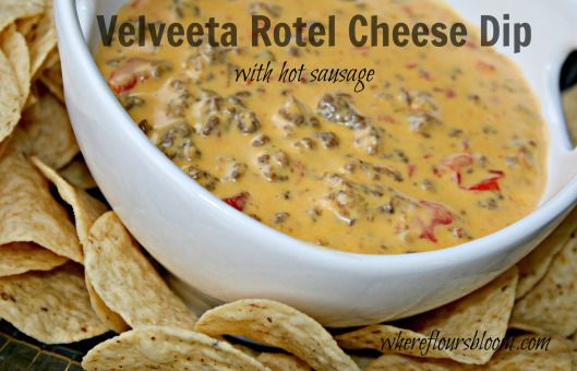 Crockpot Rotel, Sausage, & Velveeta Cheese Dip Serve with Fritos Scoops or Tostitos Scoops
