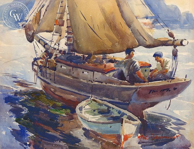 Sailing - Arthur Beaumont. HD giclee art prints for sale at CaliforniaWatercolor.com