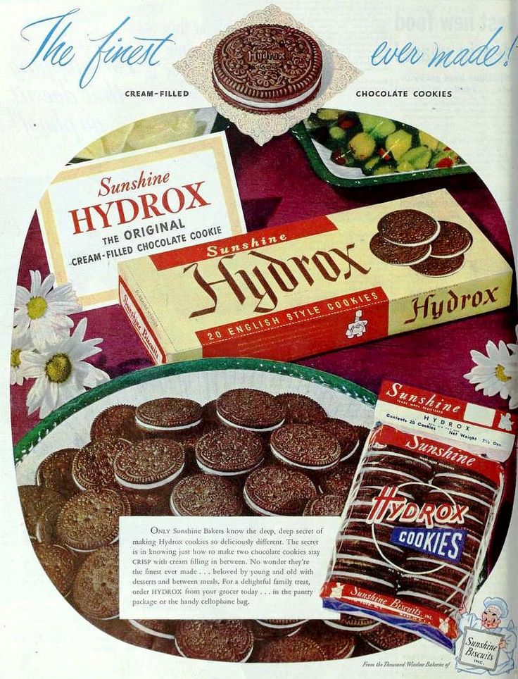 https://flic.kr/p/mKchj7 | Hydrox Cookies by Sunshine Biscuit, February 1949 | Featured in The Ladies' Home Journal, February 1949