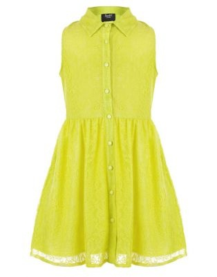 Bardot Junior: neon lace button down dress- totally cute