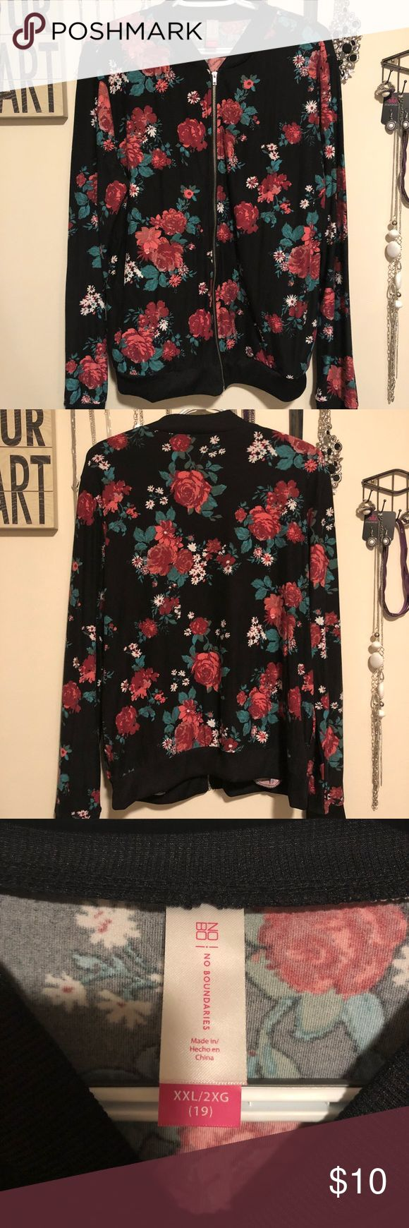 Floral zip up Only worn once floral zip up jacket. Great condition. Can be dressed up or down. Lightweight. Size xxl but fits more like an xl. No Boundaries Tops Tees - Long Sleeve