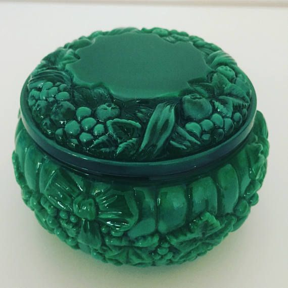 Czech/Malachite/Glass/jade/powder/pot/1930s