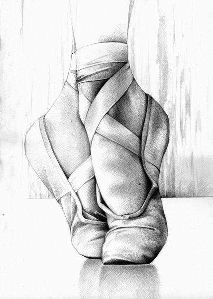 Sapatilhas. Ballet. Dança. Desenho. Arte. Branco e preto.