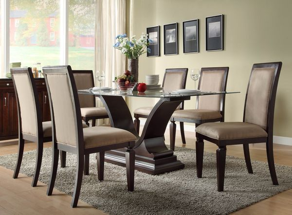 glass kitchen table sets. Homelegance Plano Rectangular Glass Dining Table w  U Shaped Base traditional furniture Best 25 dining table set ideas on Pinterest