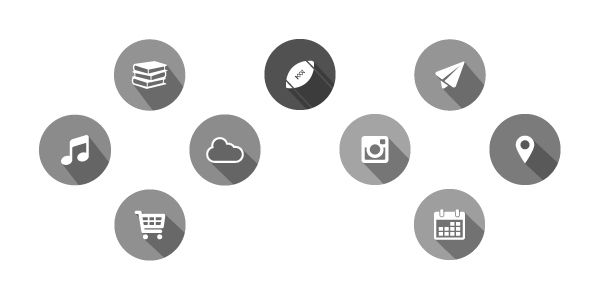Long Shadow Flat Icons Vol 1 on Behance Black and White version