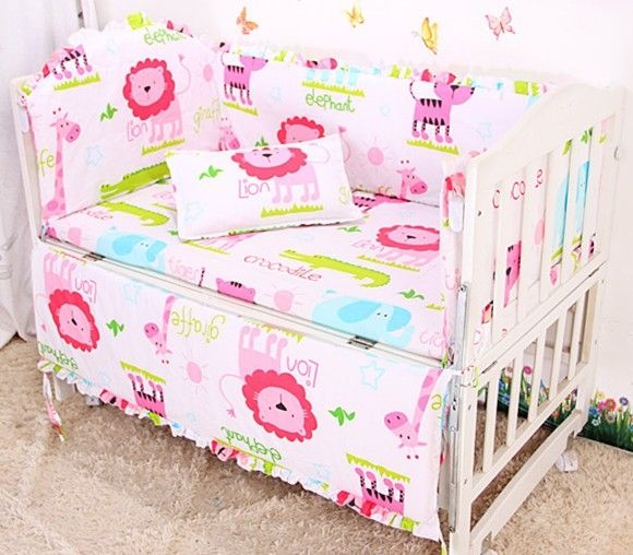 (39.60$)  Know more  - Promotion! 6PCS Winnie Baby bed bumper.Cot bed.100% cotton Cotton Newborn Crib Bedding,include(bumpers+sheet+pillow cover)