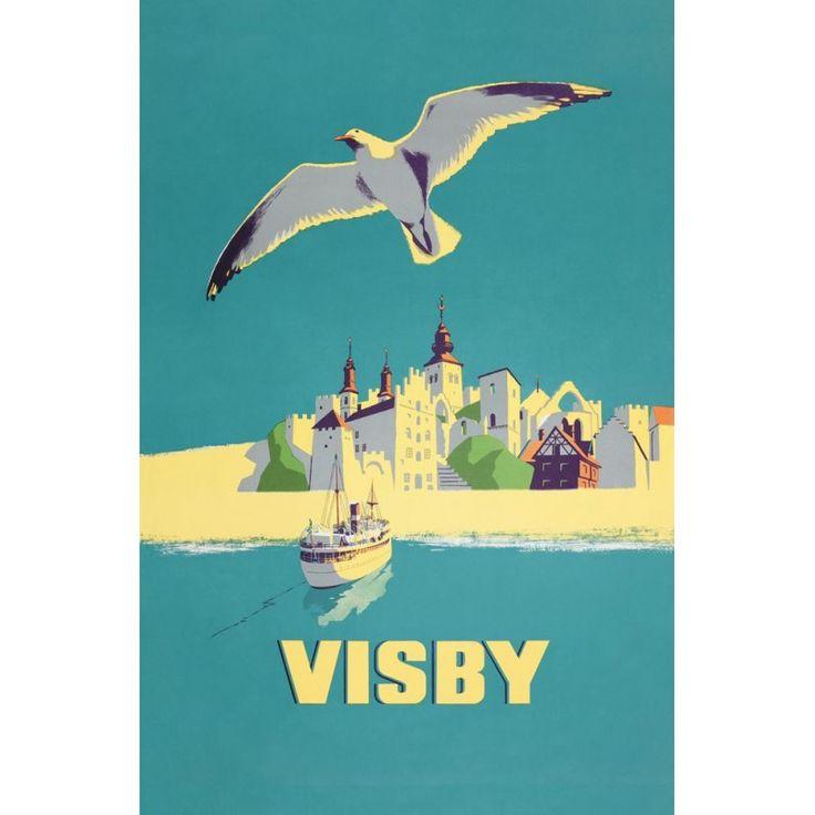 Visby med mås och båt / Vykort13